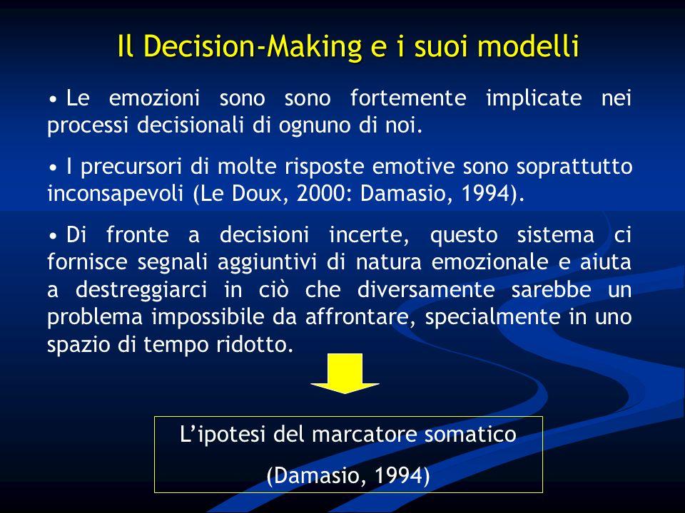 Le emozioni sono sono fortemente implicate nei processi decisionali di ognuno di noi. I precursori di molte risposte emotive sono soprattutto inconsap