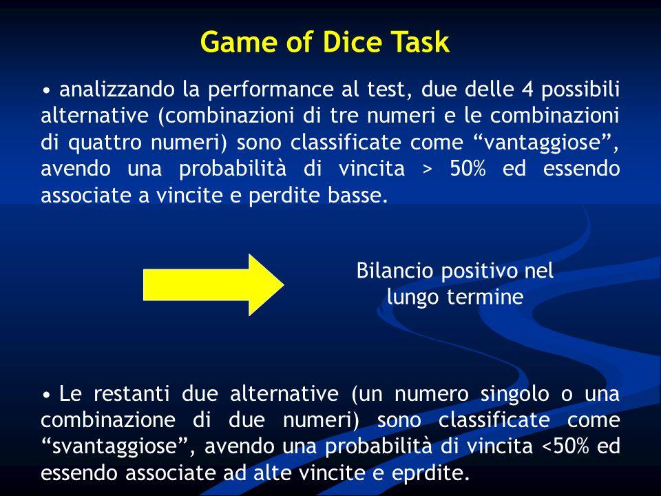 analizzando la performance al test, due delle 4 possibili alternative (combinazioni di tre numeri e le combinazioni di quattro numeri) sono classifica