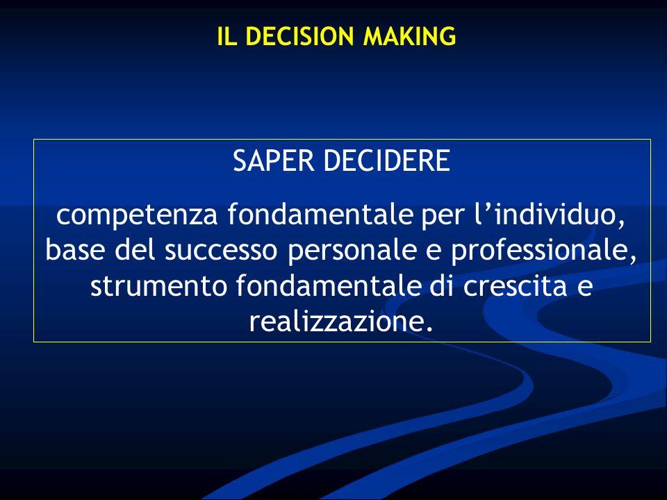 IL DECISION MAKING SAPER DECIDERE competenza fondamentale per lindividuo, base del successo personale e professionale, strumento fondamentale di cresc