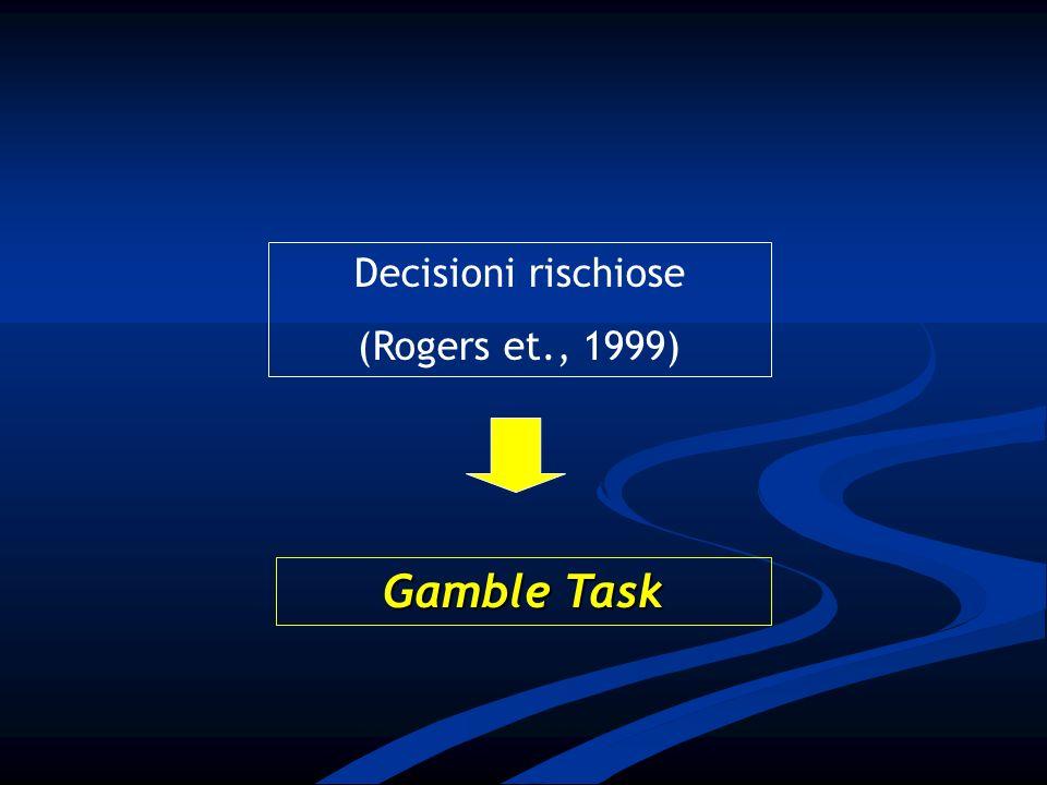 Decisioni rischiose (Rogers et., 1999) Gamble Task
