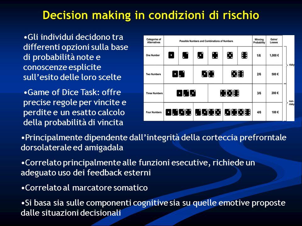 Decision making in condizioni di rischio Principalmente dipendente dallintegrità della corteccia prefrorntale dorsolaterale ed amigadala Correlato pri