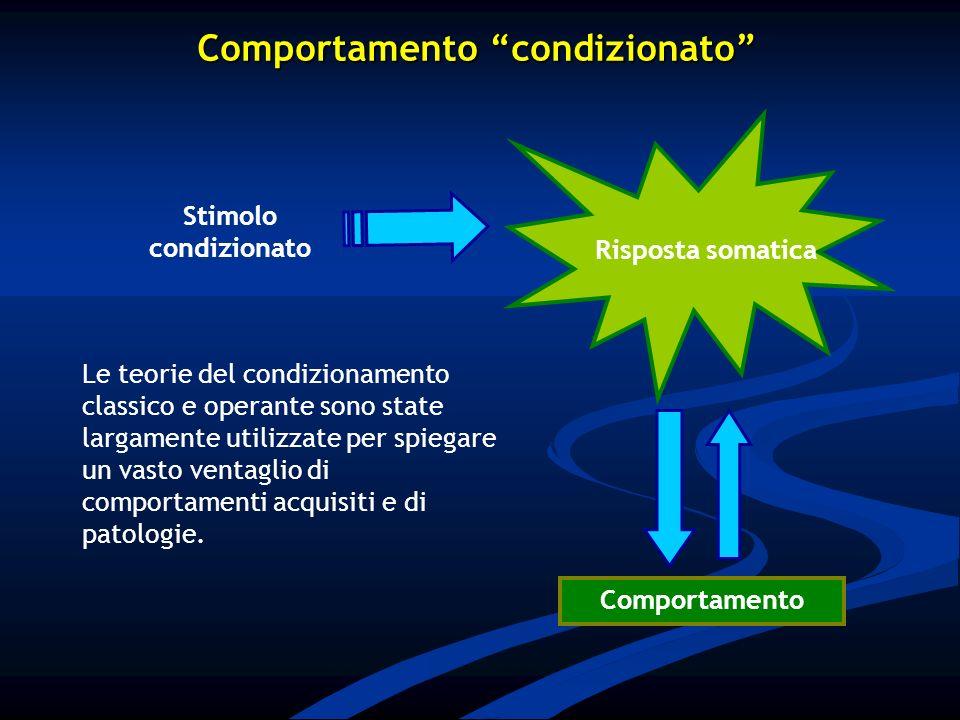 Stimolo condizionato Comportamento Risposta somatica Comportamento condizionato Le teorie del condizionamento classico e operante sono state largament