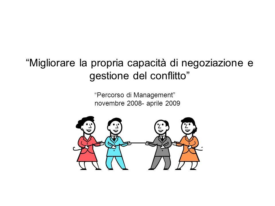Migliorare la propria capacità di negoziazione e gestione del conflitto Percorso di Management novembre 2008- aprile 2009
