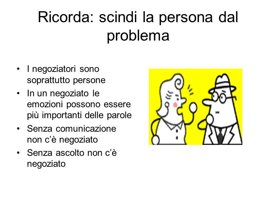 Ricorda: scindi la persona dal problema I negoziatori sono soprattutto persone In un negoziato le emozioni possono essere più importanti delle parole