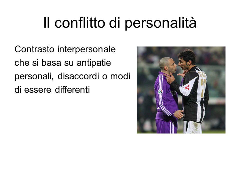 Il conflitto di personalità Contrasto interpersonale che si basa su antipatie personali, disaccordi o modi di essere differenti