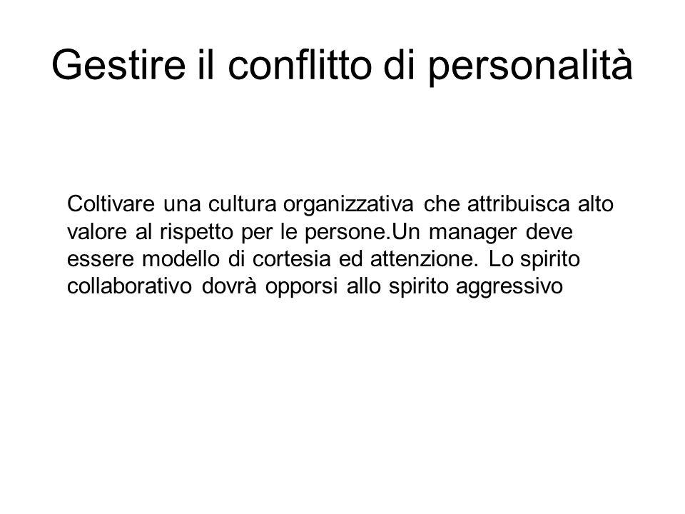 Gestire il conflitto di personalità Coltivare una cultura organizzativa che attribuisca alto valore al rispetto per le persone.Un manager deve essere