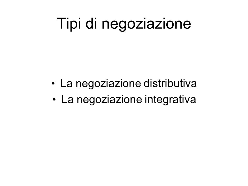 Tipi di negoziazione La negoziazione distributiva La negoziazione integrativa