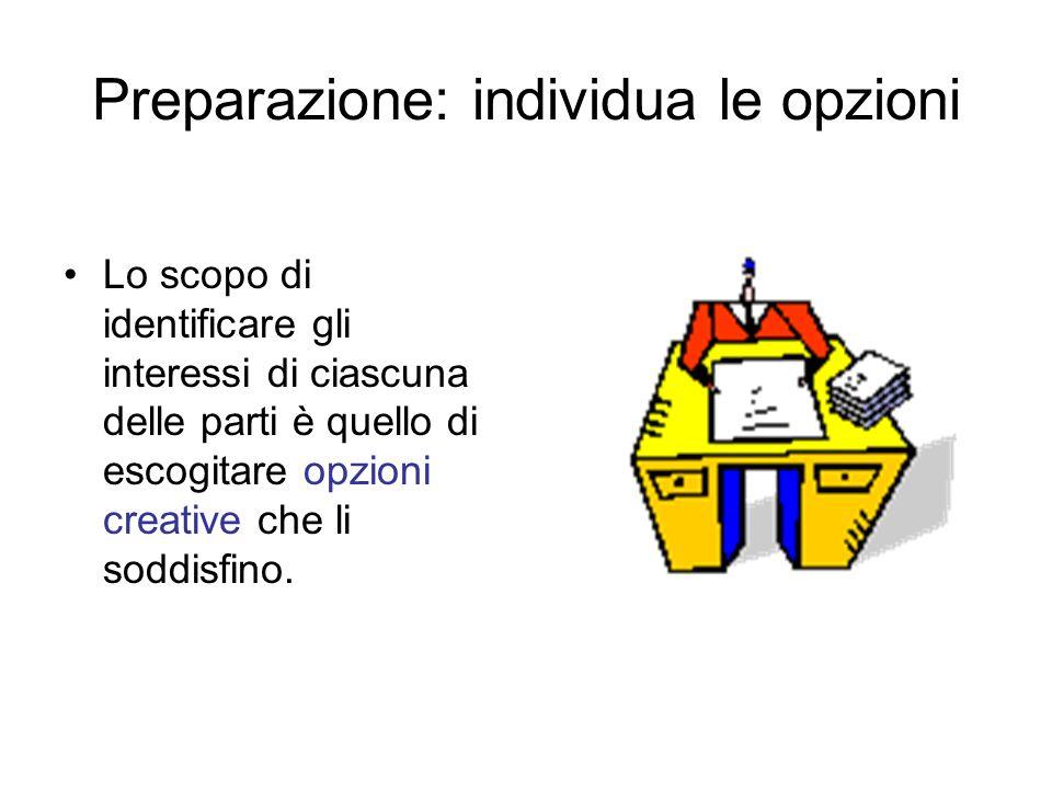 Preparazione: individua le opzioni Lo scopo di identificare gli interessi di ciascuna delle parti è quello di escogitare opzioni creative che li soddi