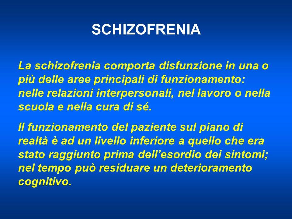 SCHIZOFRENIA La schizofrenia comporta disfunzione in una o più delle aree principali di funzionamento: nelle relazioni interpersonali, nel lavoro o nella scuola e nella cura di sé.