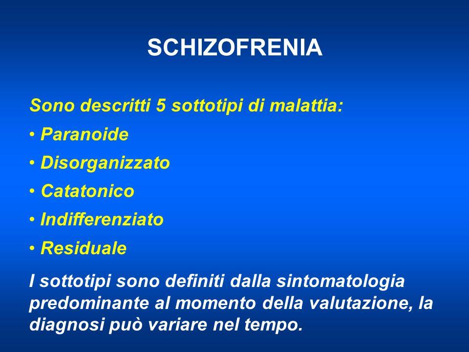 SCHIZOFRENIA Sono descritti 5 sottotipi di malattia: Paranoide Disorganizzato Catatonico Indifferenziato Residuale I sottotipi sono definiti dalla sintomatologia predominante al momento della valutazione, la diagnosi può variare nel tempo.