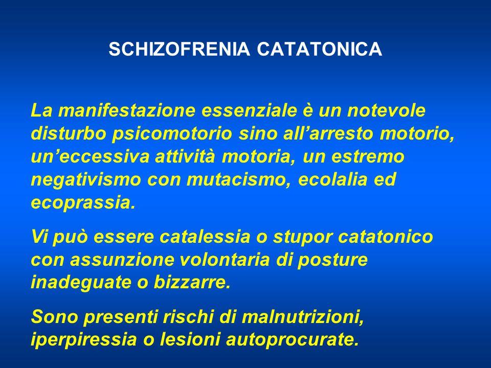 SCHIZOFRENIA CATATONICA La manifestazione essenziale è un notevole disturbo psicomotorio sino allarresto motorio, uneccessiva attività motoria, un estremo negativismo con mutacismo, ecolalia ed ecoprassia.