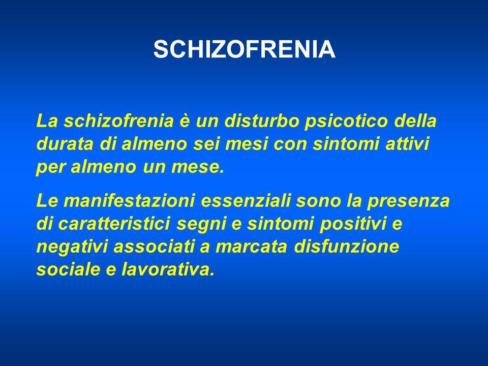 SCHIZOFRENIA La schizofrenia è un disturbo psicotico della durata di almeno sei mesi con sintomi attivi per almeno un mese.