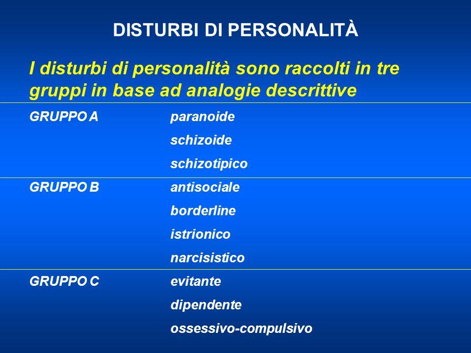 DISTURBI DI PERSONALITÀ I disturbi di personalità sono raccolti in tre gruppi in base ad analogie descrittive GRUPPO Aparanoide schizoide schizotipico