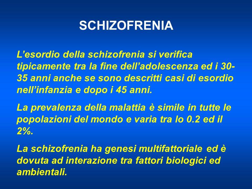 SCHIZOFRENIA Lesordio della schizofrenia si verifica tipicamente tra la fine delladolescenza ed i 30- 35 anni anche se sono descritti casi di esordio nellinfanzia e dopo i 45 anni.