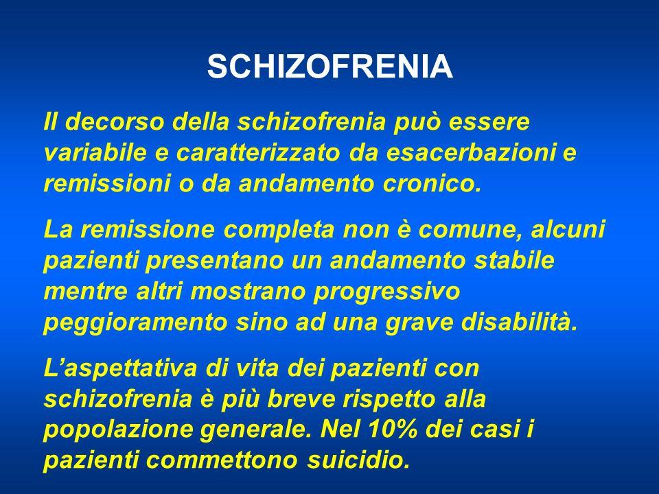SCHIZOFRENIA Il decorso della schizofrenia può essere variabile e caratterizzato da esacerbazioni e remissioni o da andamento cronico. La remissione c