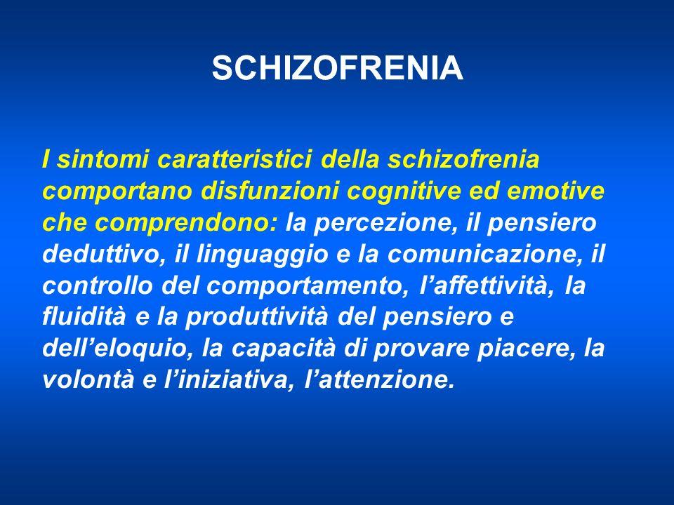 SCHIZOFRENIA I sintomi caratteristici della schizofrenia comportano disfunzioni cognitive ed emotive che comprendono: la percezione, il pensiero deduttivo, il linguaggio e la comunicazione, il controllo del comportamento, laffettività, la fluidità e la produttività del pensiero e delleloquio, la capacità di provare piacere, la volontà e liniziativa, lattenzione.
