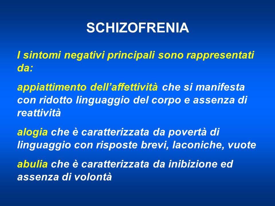 SCHIZOFRENIA I sintomi negativi principali sono rappresentati da: appiattimento dellaffettività che si manifesta con ridotto linguaggio del corpo e as