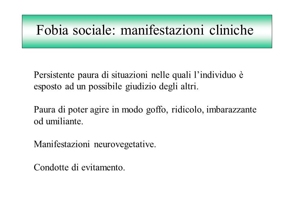 Fobia sociale: manifestazioni cliniche Persistente paura di situazioni nelle quali lindividuo è esposto ad un possibile giudizio degli altri. Paura di