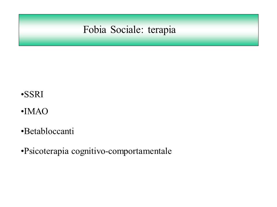 Fobia Sociale: terapia SSRI IMAO Betabloccanti Psicoterapia cognitivo-comportamentale