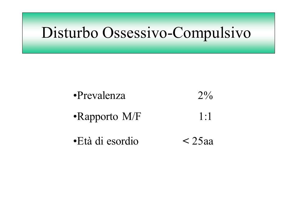 Disturbo Ossessivo-Compulsivo Prevalenza 2% Rapporto M/F 1:1 Età di esordio < 25aa