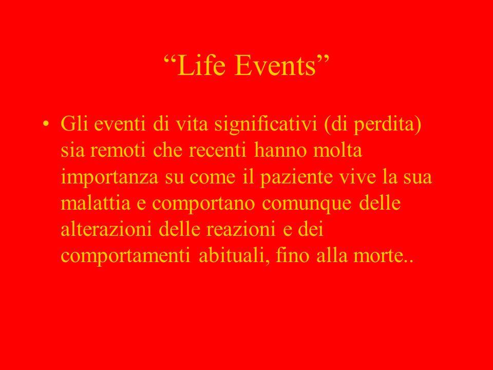 Life Events Gli eventi di vita significativi (di perdita) sia remoti che recenti hanno molta importanza su come il paziente vive la sua malattia e com