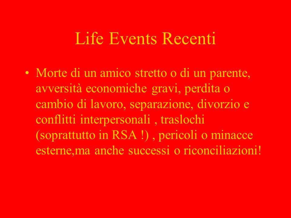 Life Events Recenti Morte di un amico stretto o di un parente, avversità economiche gravi, perdita o cambio di lavoro, separazione, divorzio e conflit