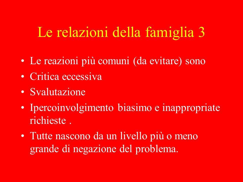 Le relazioni della famiglia 4 Le reazioni più utili (su cui addestrarsi) sono: Tolleranza insieme a capacità di porre dei limiti.