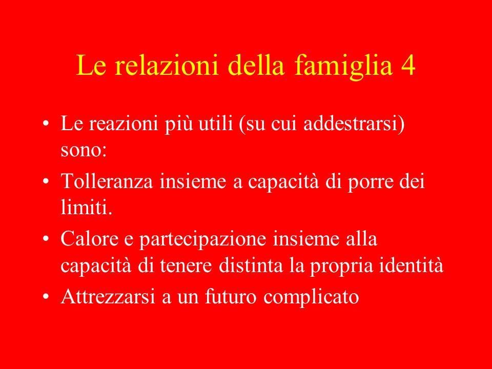Le relazioni della famiglia 4 Le reazioni più utili (su cui addestrarsi) sono: Tolleranza insieme a capacità di porre dei limiti. Calore e partecipazi