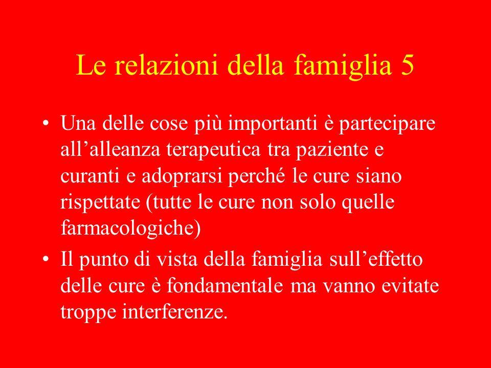 Le relazioni della famiglia 5 Una delle cose più importanti è partecipare allalleanza terapeutica tra paziente e curanti e adoprarsi perché le cure si
