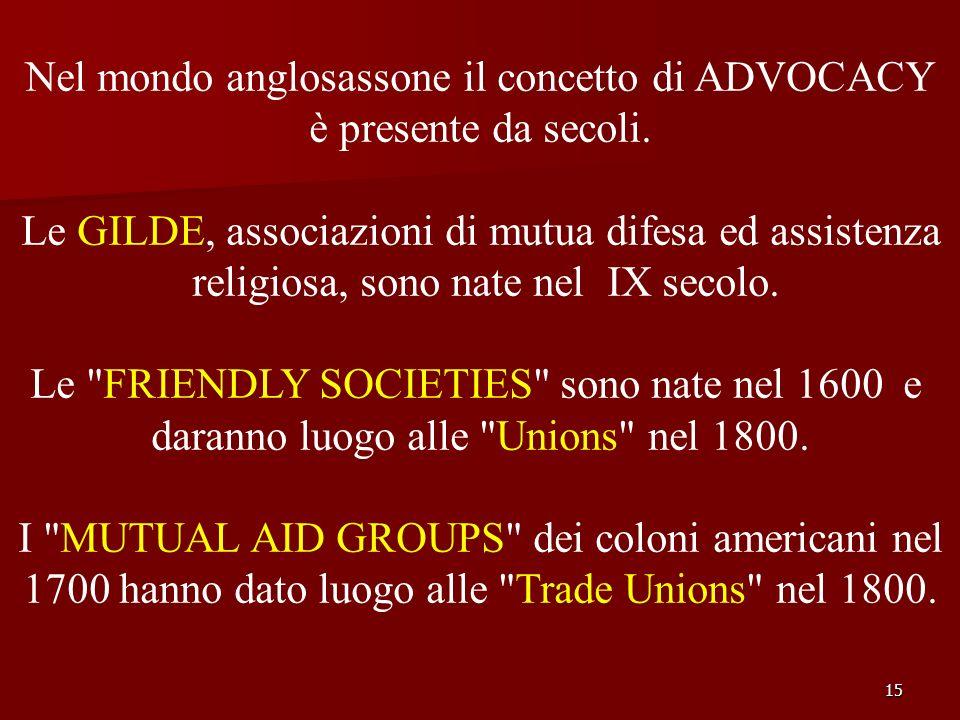 15 Nel mondo anglosassone il concetto di ADVOCACY è presente da secoli. Le GILDE, associazioni di mutua difesa ed assistenza religiosa, sono nate nel