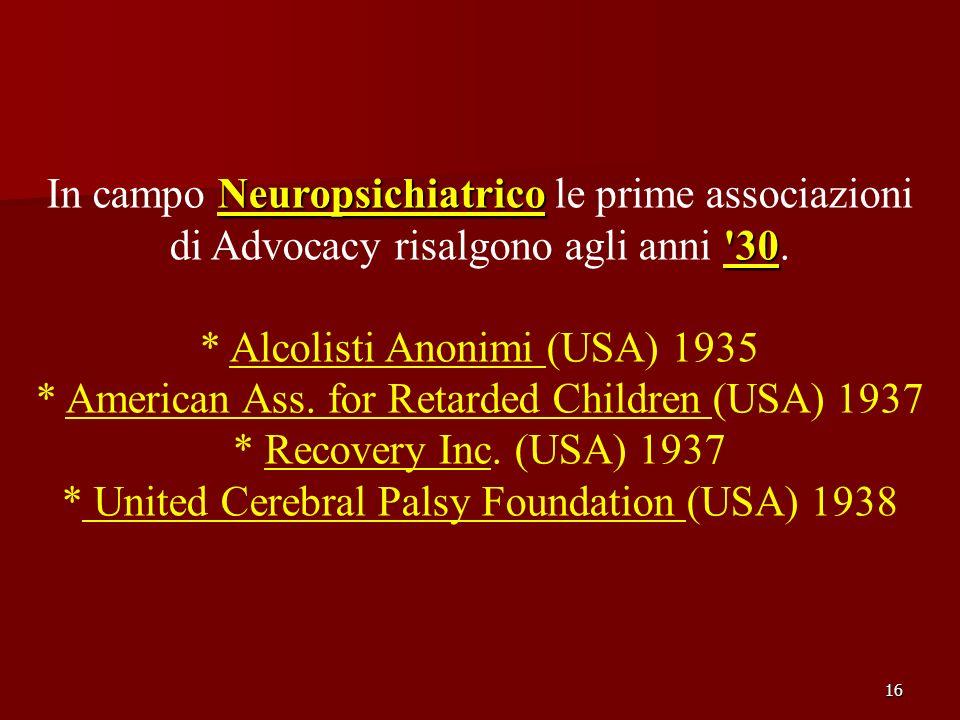 16 Neuropsichiatrico In campo Neuropsichiatrico le prime associazioni '30 di Advocacy risalgono agli anni '30. * Alcolisti Anonimi (USA) 1935 * Americ