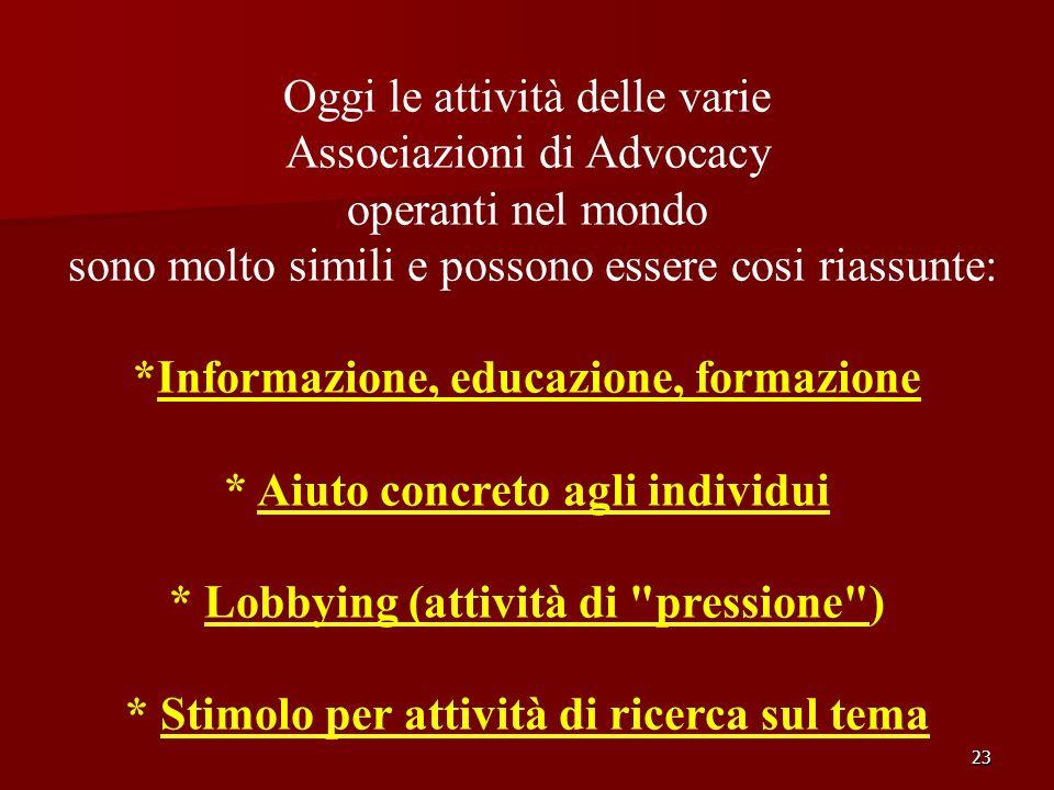 23 Oggi le attività delle varie Associazioni di Advocacy operanti nel mondo sono molto simili e possono essere cosi riassunte: *Informazione, educazio