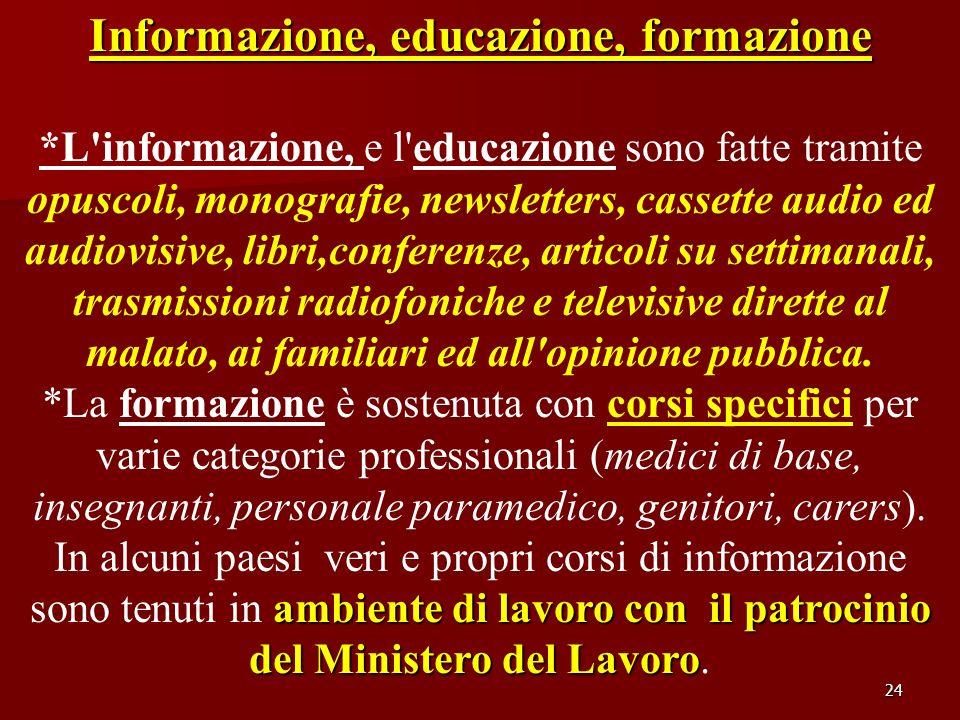 24 Informazione, educazione, formazione *L'informazione, e l'educazione sono fatte tramite opuscoli, monografie, newsletters, cassette audio ed audiov