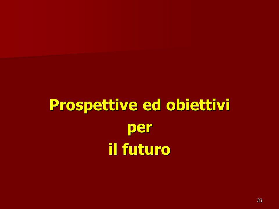 33 Prospettive ed obiettivi per il futuro