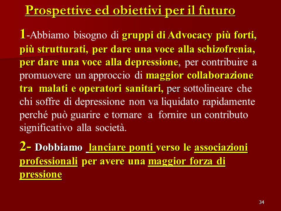 34 Prospettive ed obiettivi per il futuro 1 gruppi di Advocacy più forti, più strutturati, per dare una voce alla schizofrenia, per dare una voce alla
