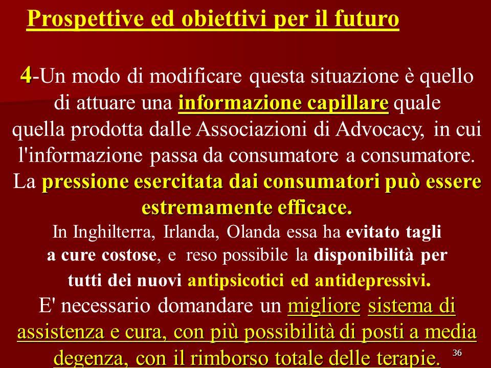 36 Prospettive ed obiettivi per il futuro 4 4 -Un modo di modificare questa situazione è quello informazione capillare di attuare una informazione cap