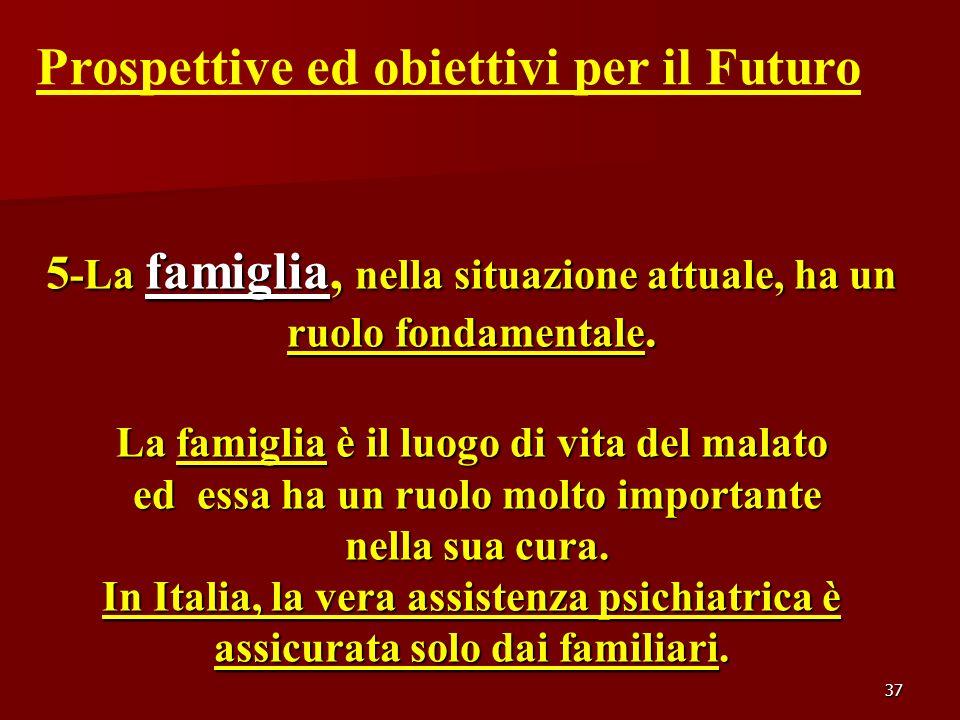 37 Prospettive ed obiettivi per il Futuro 5 -La famiglia, nella situazione attuale, ha un ruolo fondamentale. La famiglia è il luogo di vita del malat