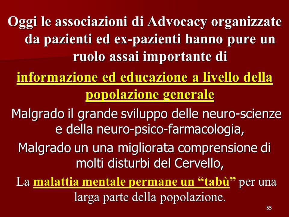 55 Oggi le associazioni di Advocacy organizzate da pazienti ed ex-pazienti hanno pure un ruolo assai importante di informazione ed educazione a livell