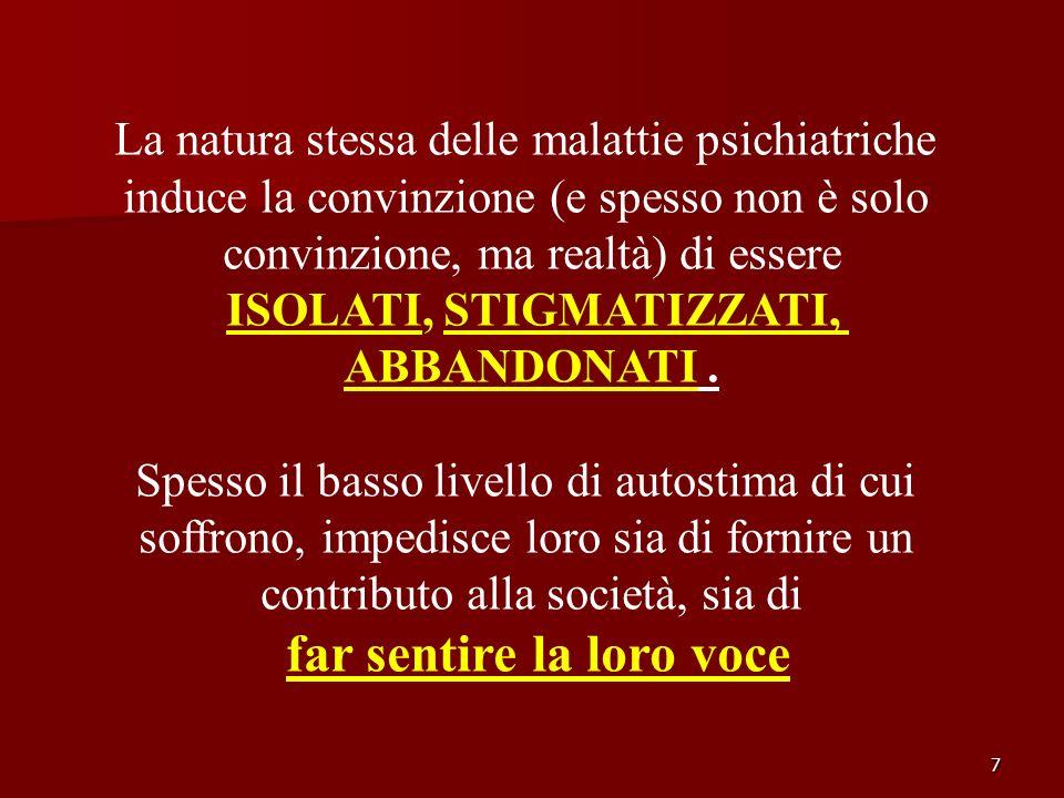 7 La natura stessa delle malattie psichiatriche induce la convinzione (e spesso non è solo convinzione, ma realtà) di essere ISOLATI, STIGMATIZZATI, A