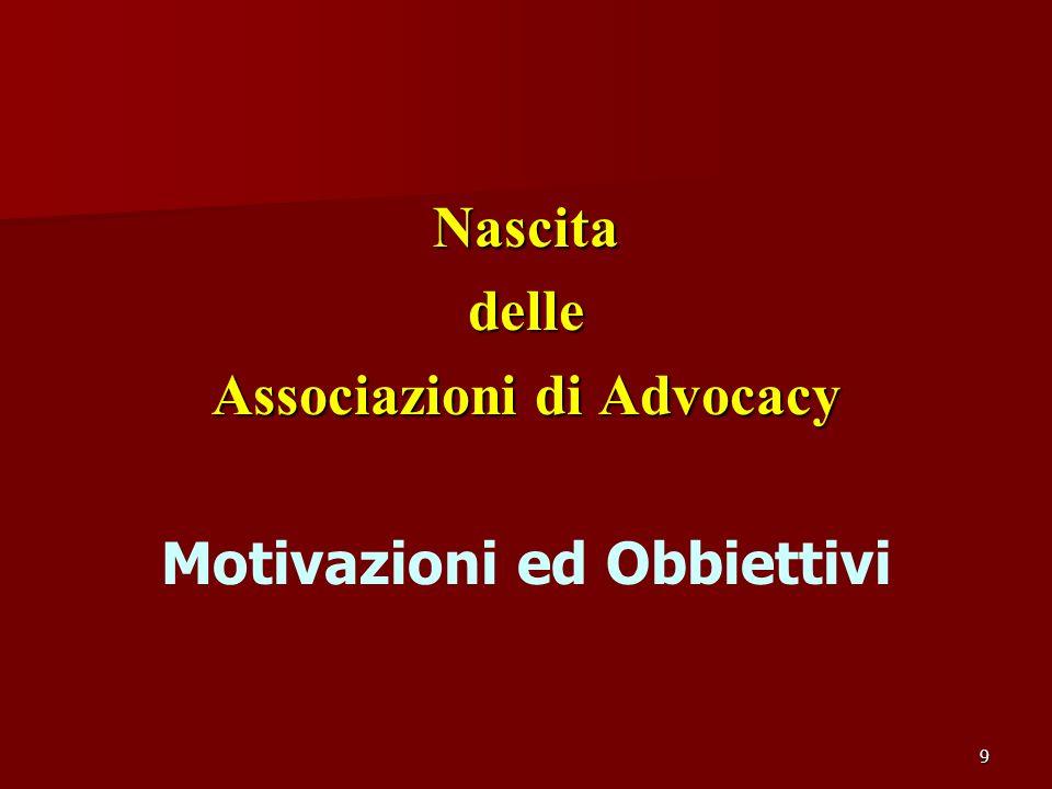 9 Nascitadelle Associazioni di Advocacy Motivazioni ed Obbiettivi