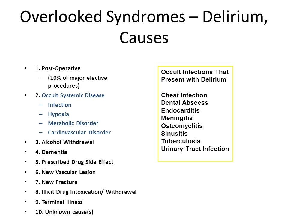 Overlooked Syndromes – Delirium, Causes 1. Post-Operative – (10% of major elective procedures) 2. Occult Systemic Disease – Infection – Hypoxia – Meta