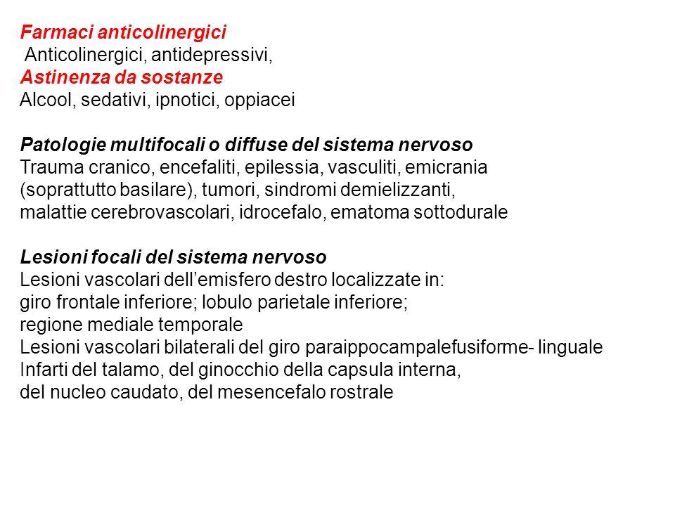 Farmaci anticolinergici Anticolinergici, antidepressivi, Astinenza da sostanze Alcool, sedativi, ipnotici, oppiacei Patologie multifocali o diffuse de