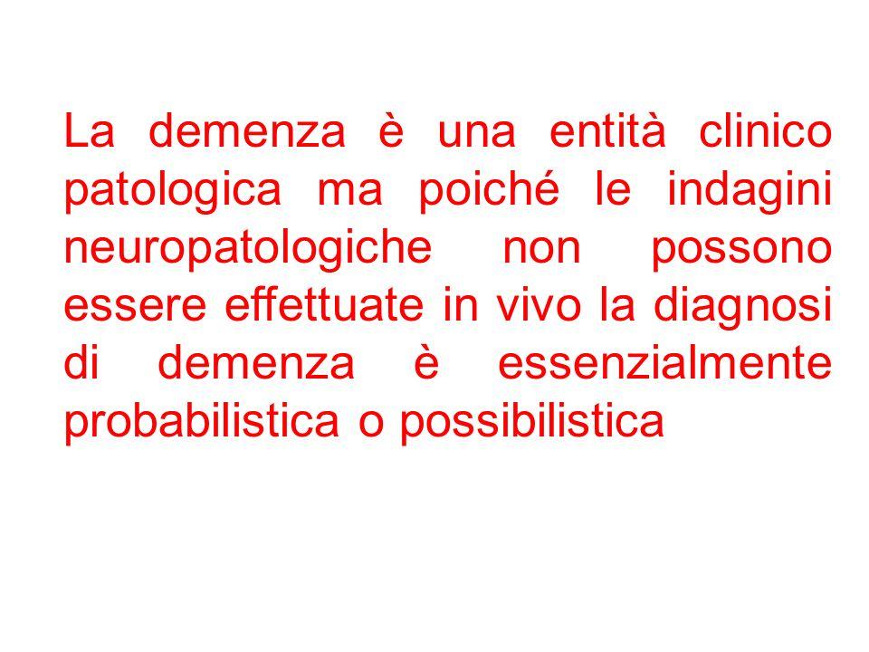 La demenza è una entità clinico patologica ma poiché le indagini neuropatologiche non possono essere effettuate in vivo la diagnosi di demenza è essen