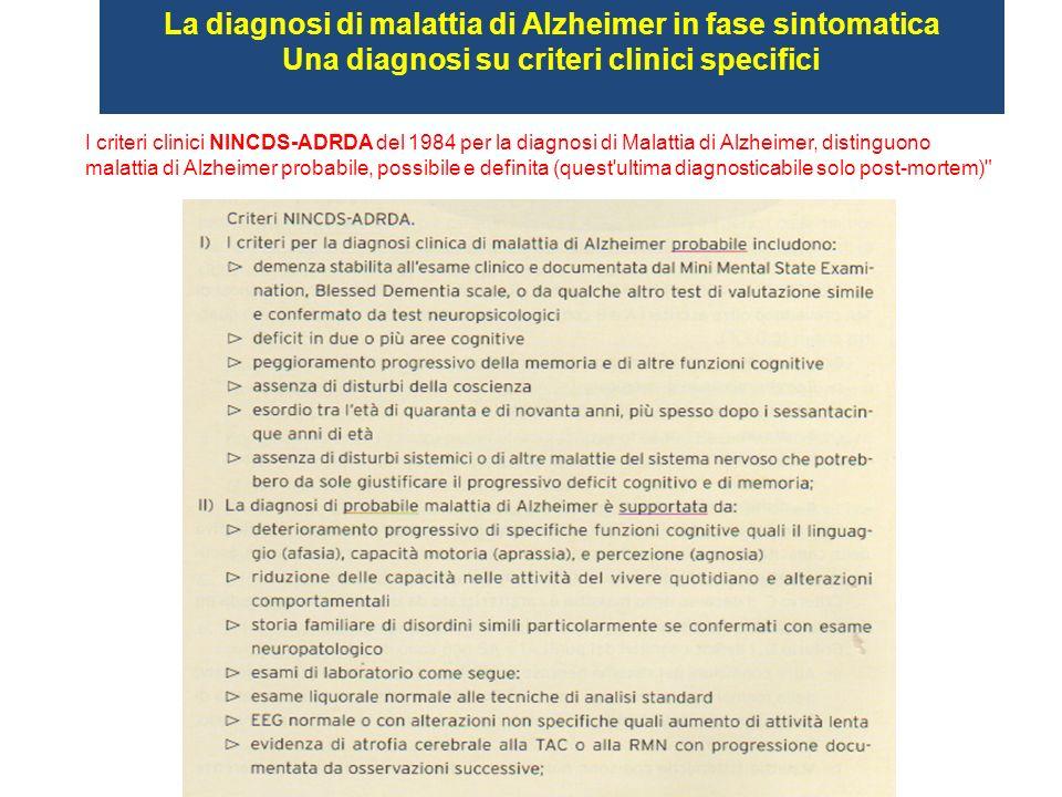 I criteri clinici NINCDS-ADRDA del 1984 per la diagnosi di Malattia di Alzheimer, distinguono malattia di Alzheimer probabile, possibile e definita (q