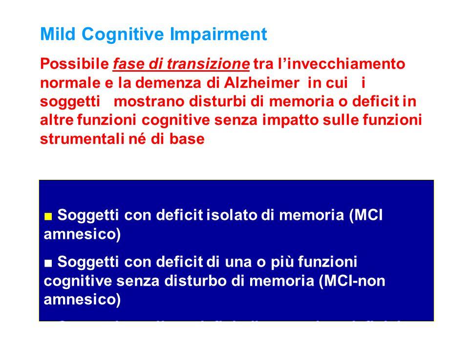 Soggetti con deficit isolato di memoria (MCI amnesico) Soggetti con deficit di una o più funzioni cognitive senza disturbo di memoria (MCI-non amnesic