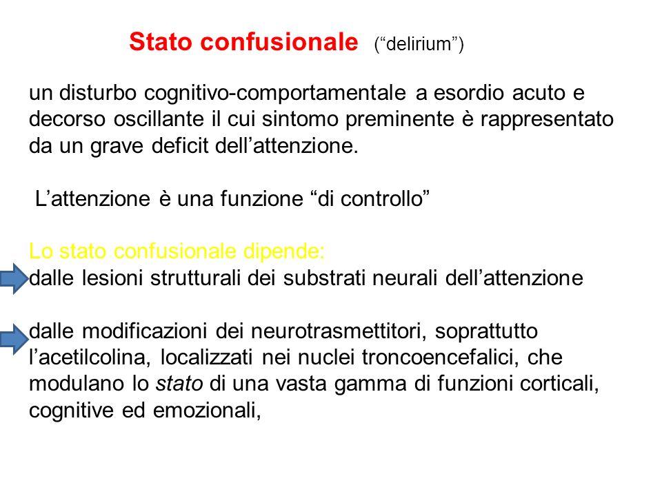 Stato confusionale (delirium) un disturbo cognitivo-comportamentale a esordio acuto e decorso oscillante il cui sintomo preminente è rappresentato da