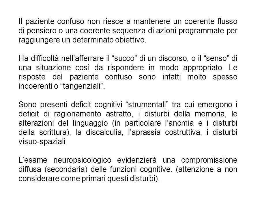 Il paziente confuso non riesce a mantenere un coerente flusso di pensiero o una coerente sequenza di azioni programmate per raggiungere un determinato