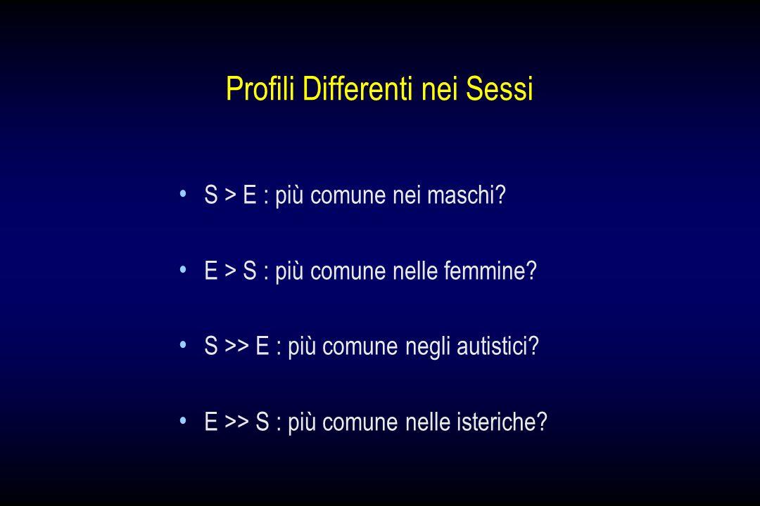 Profili Differenti nei Sessi S > E : più comune nei maschi? E > S : più comune nelle femmine? S >> E : più comune negli autistici? E >> S : più comune