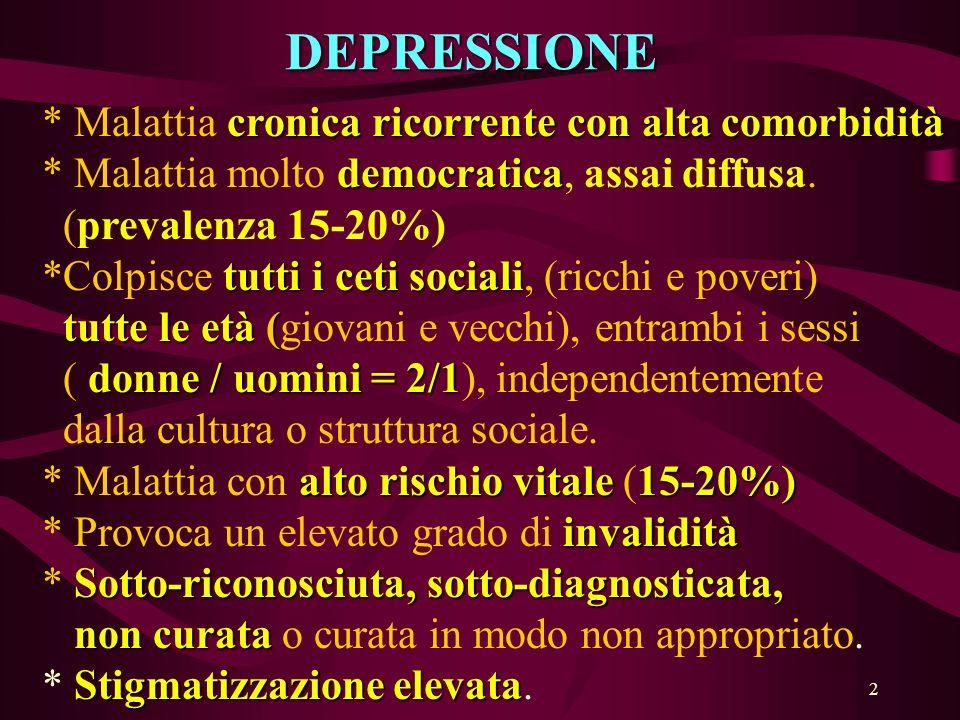 23 IN CHI SOFFRE DI DEPRESSIONE IL RISCHIO DI SUICIDIO E TRE VOLTE SUPERIORE A QUELLO DEI NON-DEPRESSI (NEI BIPOLARI IIL RISCHIO E DI 5 VOLTE MAGGIORE) IL Li+ PUO RIDURRE IL NUMERO DEI SUICIDI (-5 / 1000 Pazienti /anno)