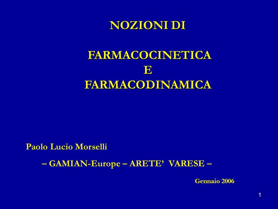1 NOZIONI DI FARMACOCINETICA FARMACOCINETICAEFARMACODINAMICA Paolo Lucio Morselli – GAMIAN-Europe – ARETE VARESE – Gennaio 2006